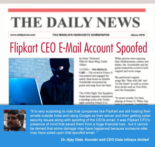 Protection is always better than cure. Protect your email from getting spoofed. Read the incident that happens to Flipkart CEO