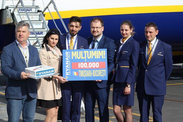 Ryanair sărbătorește transportarea a 100 000 de pasageri pe ruta Timișoara – București