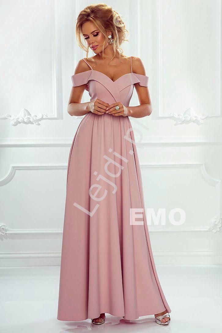 Sukienka Z Odkrytymi Ramionami Długa Suknia Jasny Róż Elizabeth
