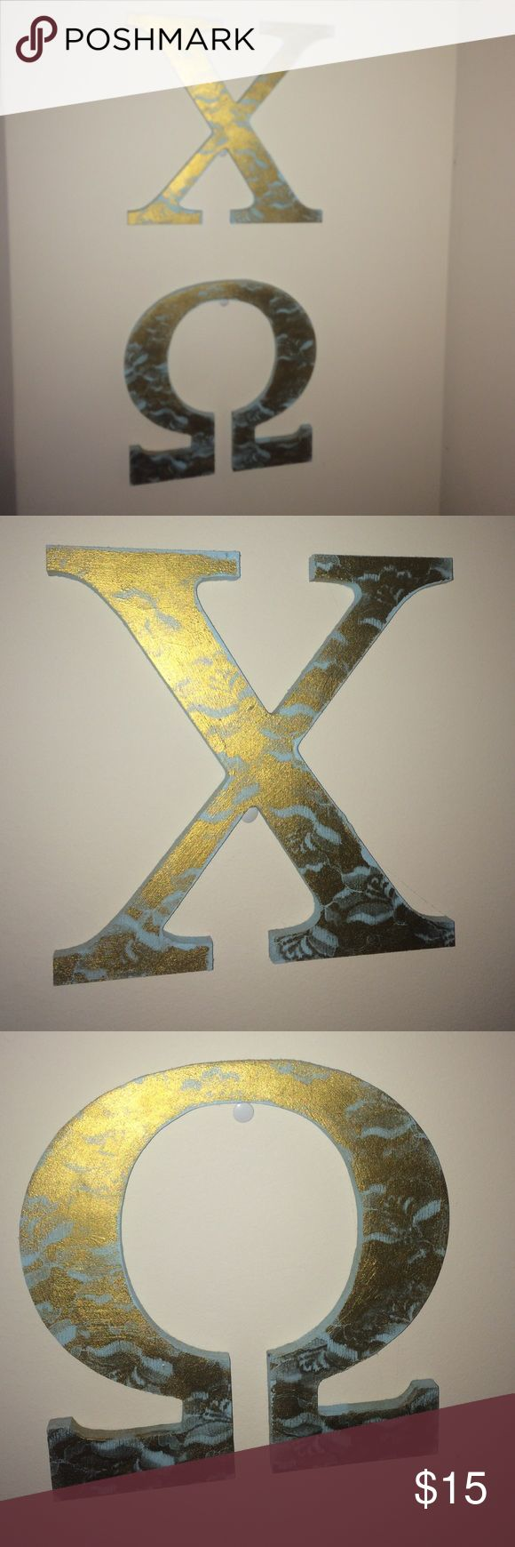 Hand painted chi omega letters Hand painted metallic gold and light blue chi omega letters Other