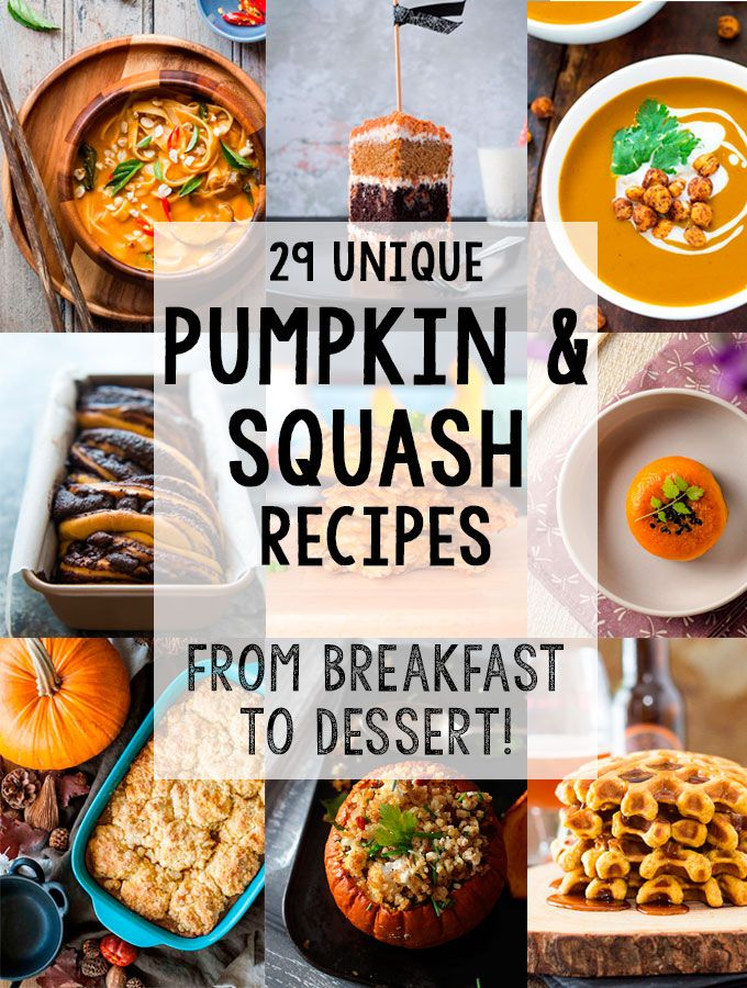 Create amazing food this fall with 29 of the most creative, inspiring & unique pumpkin & squash recipes.