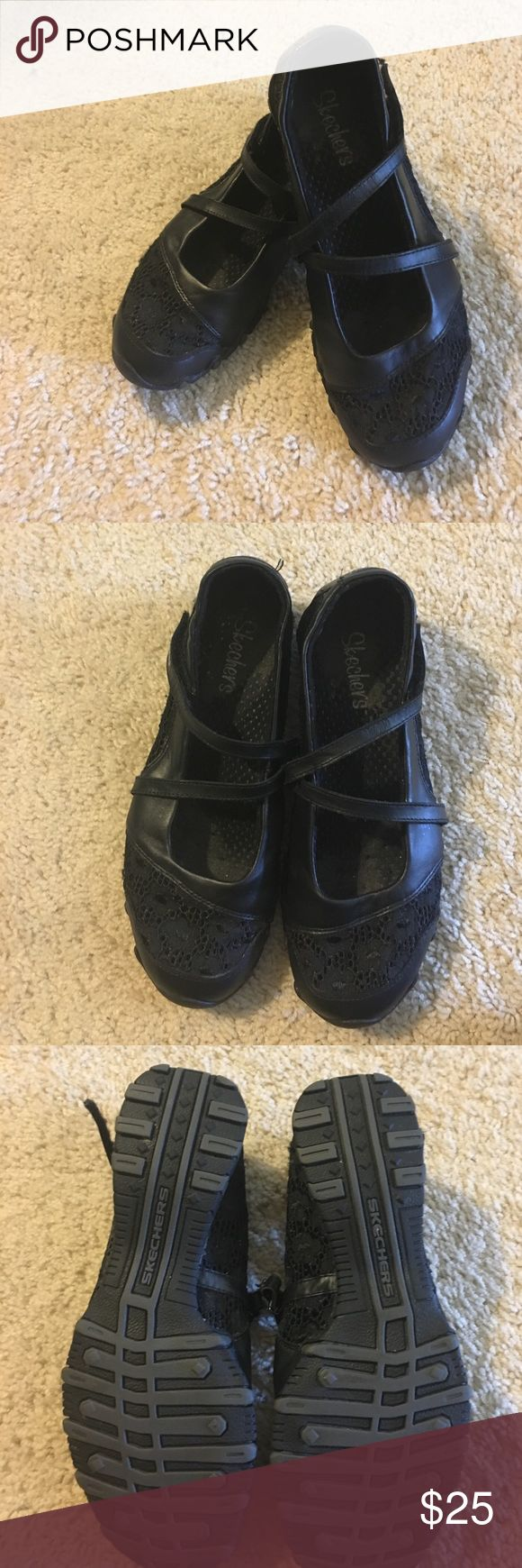 Skechers Mary Janes with Velcro straps Black leather with lace accents.  Size 7.5 in very good condition.  Dress up or down with these comfy shoes Skechers Shoes Flats & Loafers