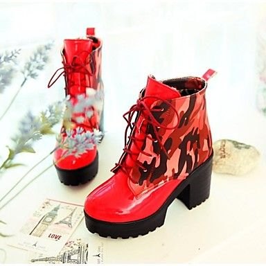 Women's Shoes Round Toe Chunky Heel Ankle Boots with Lace-up More Colors available – USD $ 29.99