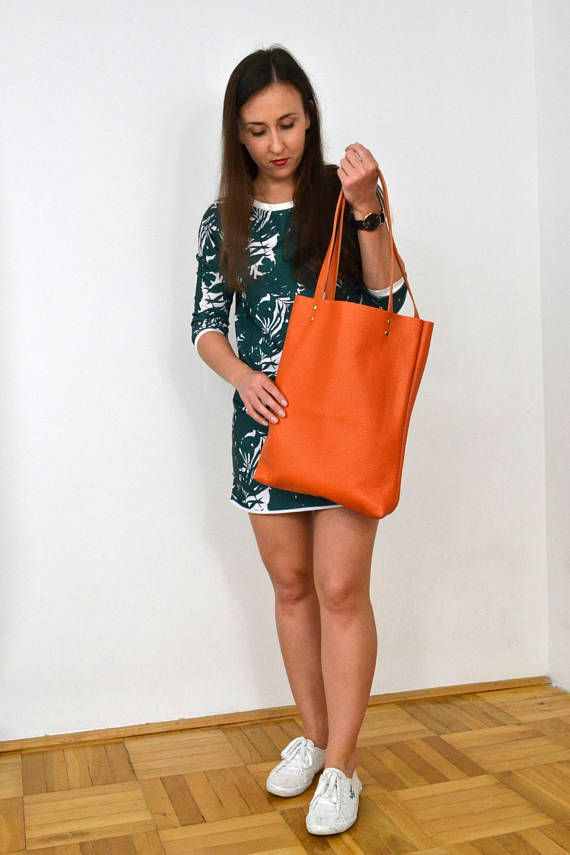 LEATHER TOTE Bag SIMPLE Leather Laptop Bag Orange Tote