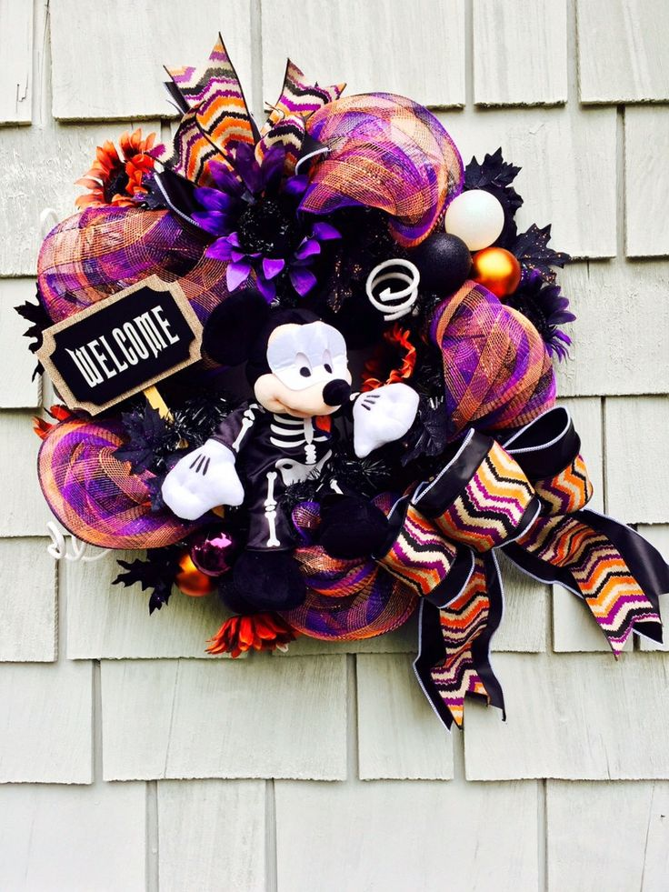 Mickey Mouse  Wreath, Halloween Disney Wreath, Mickey Mouse Halloween Wreath, Mickey Skeleton Disney Wreath, Black, White, Orange and Purple by TisTheSeasonDesign on Etsy https://www.etsy.com/listing/272262730/mickey-mouse-wreath-halloween-disney