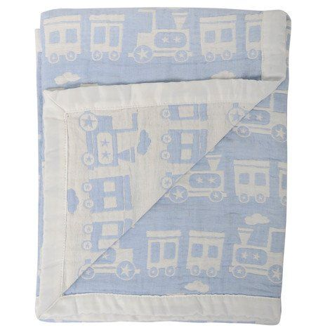 Silvercloud Double Sided Muslin Blanket Train – White Rose Baby Boutique