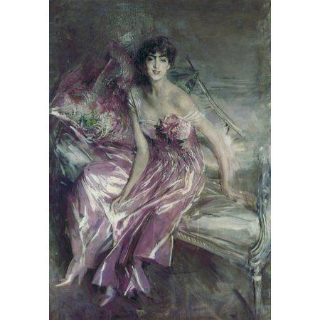 Woman In Rose Portrait Of Olivia De Subercaseaux Concha (La Signora In Rosa Canvas Art - (18 x 24)