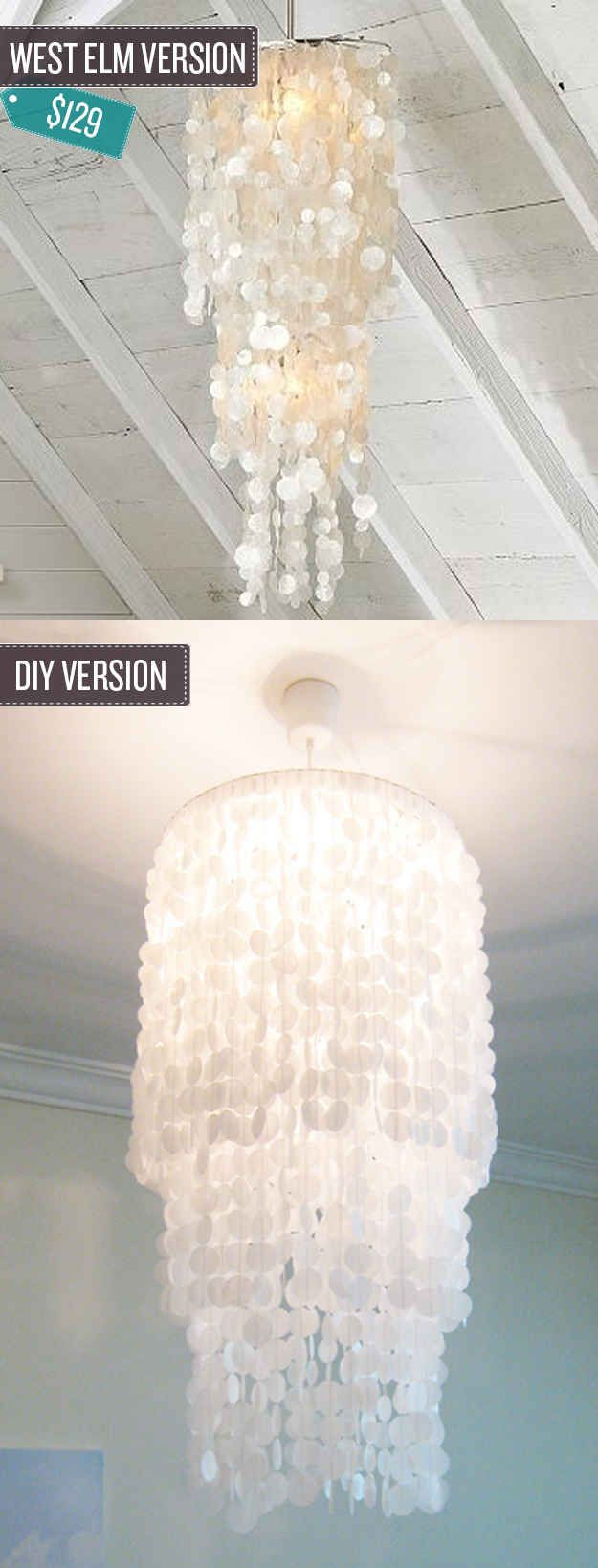 234 best very cool diy light fixtures images on pinterest night build a shell pendant chandelier arubaitofo Image collections