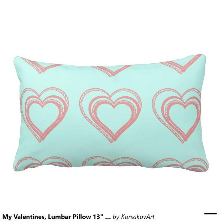 "My Valentines, Lumbar Pillow 13"" x 21"" #home #interior #valentines #love #decor #heart #design"