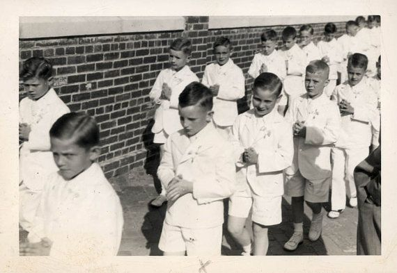 vintage photo 1950 Buddy's First Communion Little Boys by maclancy (Art & Collectibles, Photography, Black & White, vintage photo, snapshot, collectibles, paper ephemera, communion, first communion, buddy, little boys, catholic)
