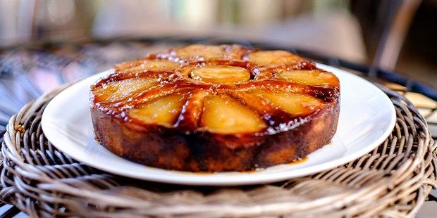Try this Pear and Amaretto Upside-Down Cake recipe by Chef Matt Moran. This recipe is from the show The Great Australian Bake Off.