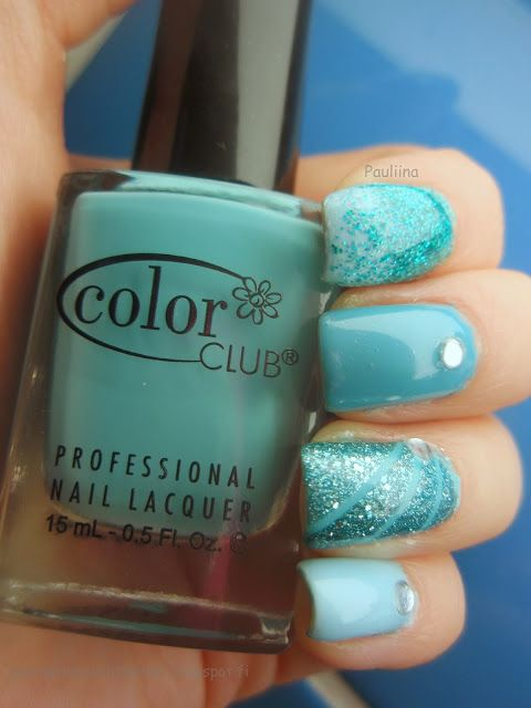 Flormar/KoneHelsinki WL01, Color Club Evolution, IsaDora Turquoise Crush & OPI Can't Find My Czechbook with rhinestones