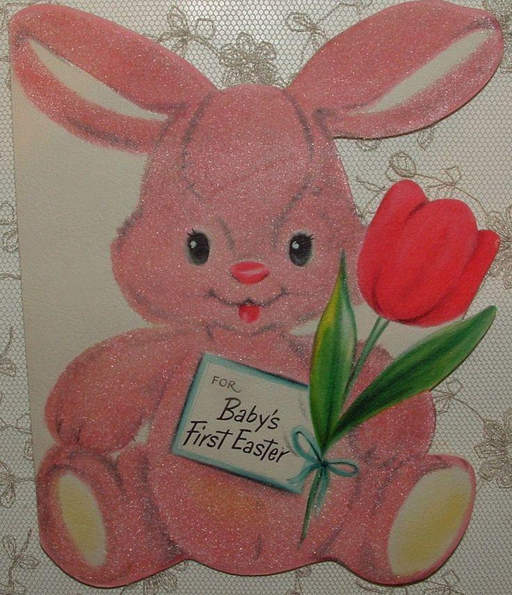 Flocked - PINK Bunny Rabbit - 1950's Vintage HALLMARK Greeting Card