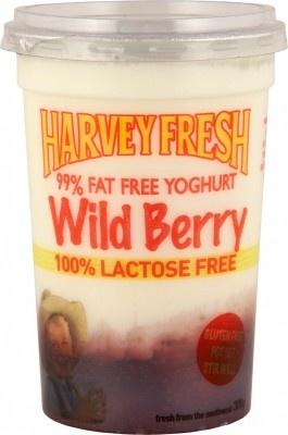 Harvey Fresh Lactose Free, Gluten Free, 99% Fat Free Yoghurt Wild Berry 300g Cup  www.harveyfresh.com.au