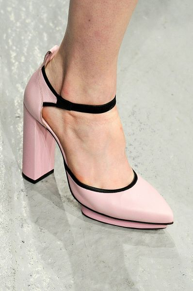 Christopher Kane pink ankle strap pumps