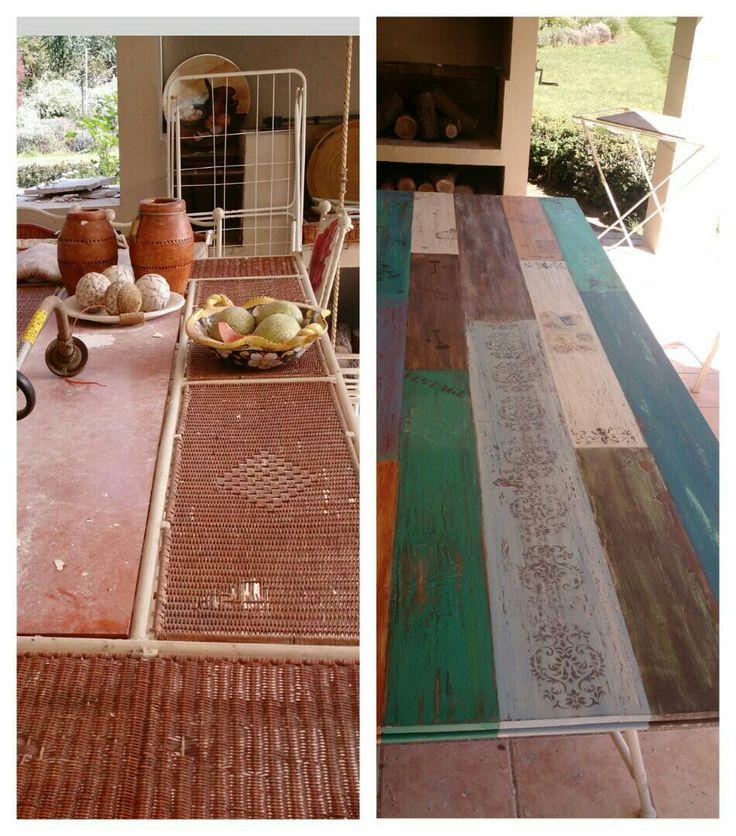 Antes y después, renovación mesa 3 x 1.20