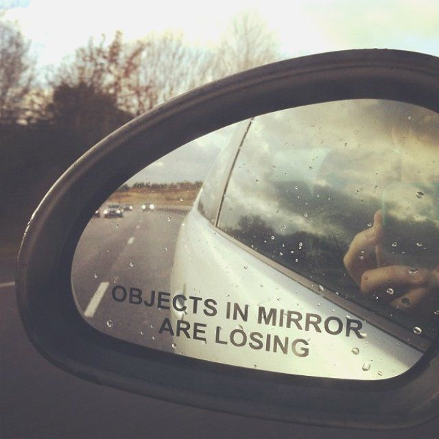 """Objects in Mirror Are Losing Car Decal Sticker / The """"Objects in Mirror Are Losing"""" car decal sticker is obviously self-explanatory. You paste it on your side-view mirror and it reminds you that you're the coolest cat on the road with the fastest ride.  http://thegadgetflow.com/portfolio/objects-mirror-losing-car-decal-sticker/"""