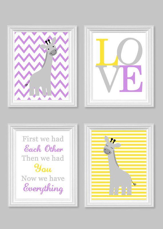 Giraffe Nursery Art Gray Yellow Lavender by SweetPeaNurseryArt