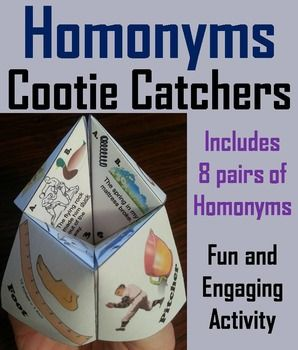These homonyms cootie catchers are a great way for students to have fun while learning all about homonyms. How to Play and Assembly Instructions are included.This homonyms activity comes in two versions:1. Students identify the correct homonym based from a sentence2.