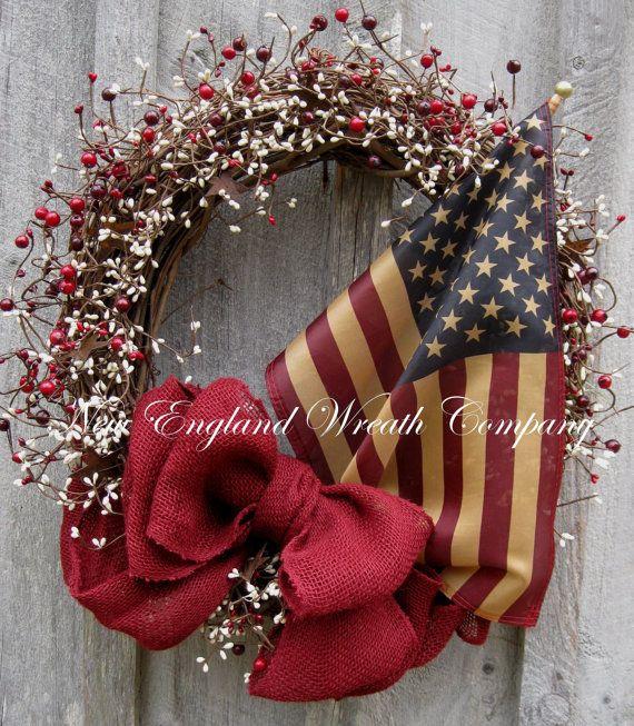 Americana Wreath Patriotic Wreath Fourth of by NewEnglandWreath