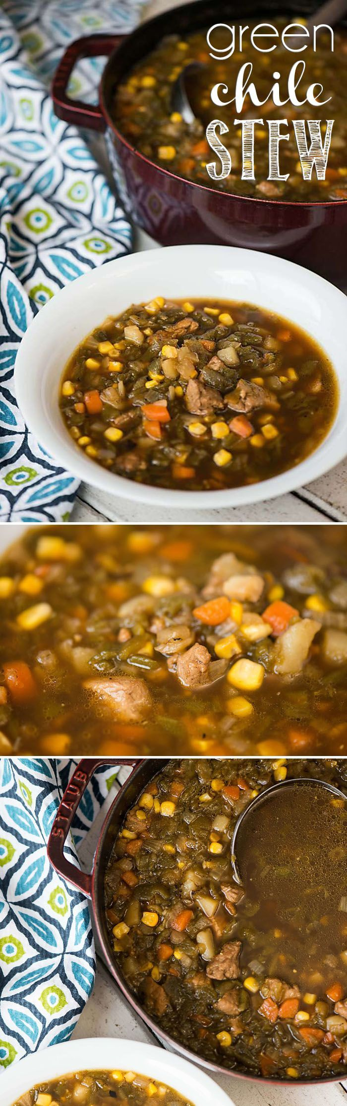 My Green Chile Stew, made with New Mexican roasted Hatch green chile, pork tenderloin, potatoes and corn, is the ultimate spicy and healthy comfort food! #stew #soup #greenchile