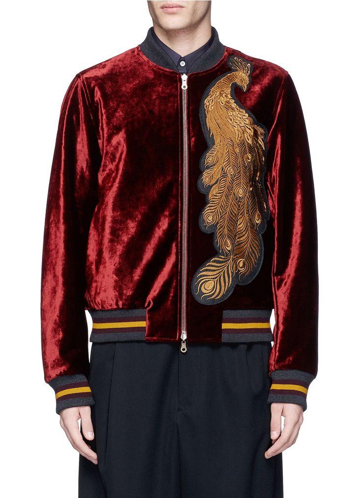 DRIES VAN NOTEN 'Vinny' peacock patch velvet bomber jacket. #driesvannoten #cloth #jacket
