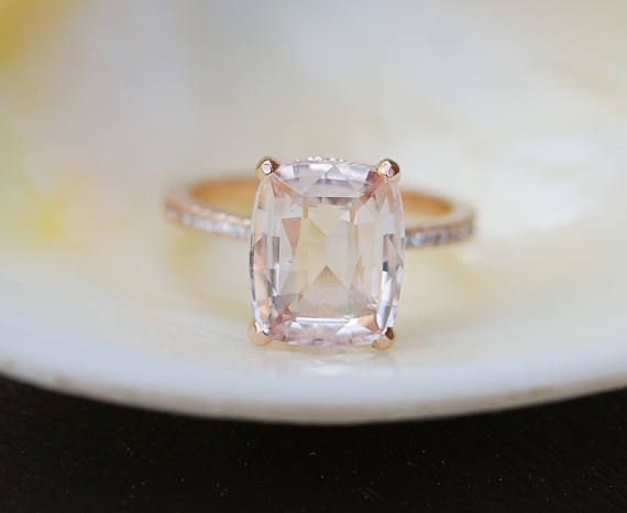 Blake Lively ring Peach Sapphire Engagement Ring cushion cut 18k rose gold diamond ring 5.56ct Peach champagne sapphire ring Eidelprecious