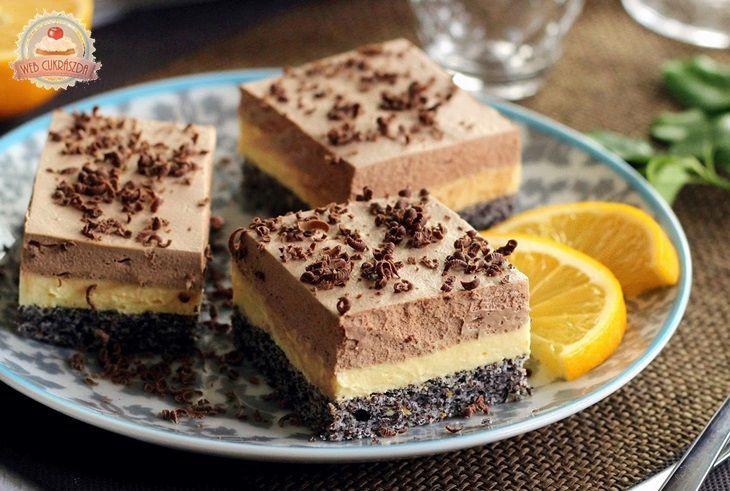 Citromkrémes mákos csokolédés mousse szelet