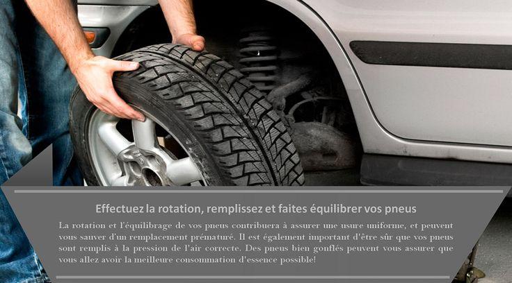 Les pneus  les pneus bien gonflés augmentent l'efficacité de la consommation de carburant de votre véhicule jusqu'à trois pour cent. Si vous ne l'avez pas déjà fait, changez vos pneus d'hiver pour les pneus toutes saisons ou les pneus d'été. Les pneus d'hiver sont plus lourds et usent plus rapidement pendant l'été, en réduisant l'efficacité de votre consommation de carburant. #pneus