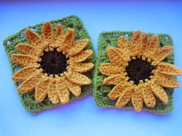 Вязание крючком: ПОДСОЛНУХ в квадрате SUNFLOWER squared Crochet