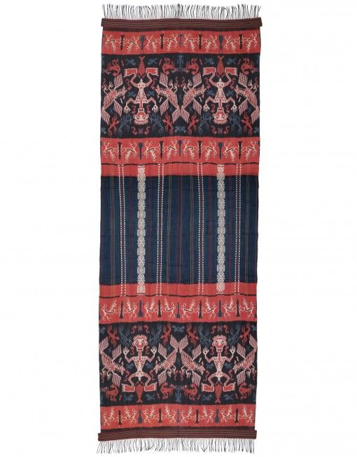 Wall hanging. Hinggi are designed to function in both present and future. They are worn in identical pairs during a man's lifetime, folded over the shoulder and wrapped about the hips. Individual design elements perform practical functions, the qualities associated with each motif augmenting the wearer's personal power during life and aid his journey to the next world after death.
