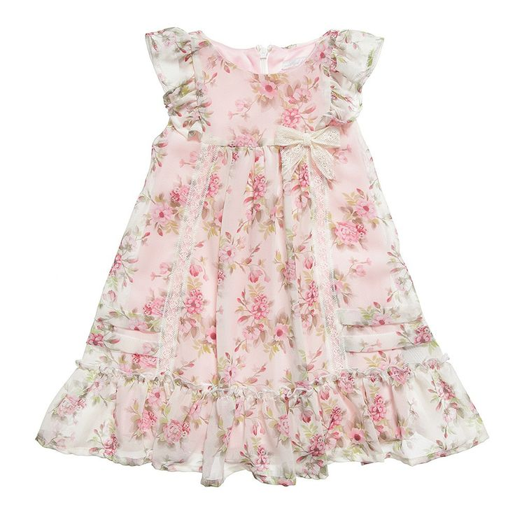 MAYORAL CHIC Girls Pink Floral Chiffon Dress