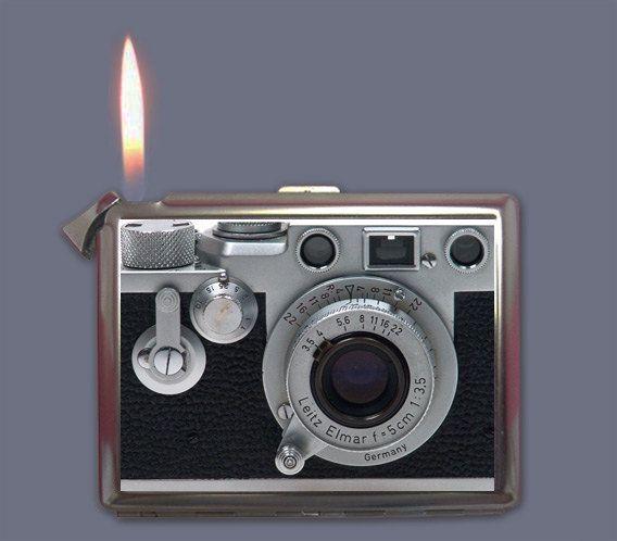 Vintage Retro Camera Cigarette Case Lighter or Wallet Business Card Holder. $8.99, via Etsy.