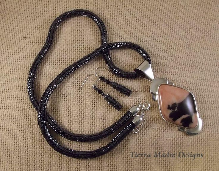 Beaded Herringbone necklace with Sterling Silver and Pink Calcite Shell Pendant by Cheryl Lojewski