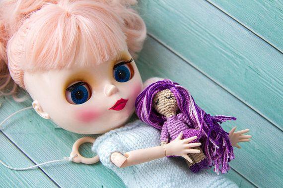 Crochet miniature doll Blythe Pet Blythe Toy Blythe doll