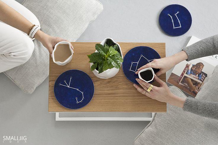 © smallbigidea.com coffee and stars. ceramic disks by @bongodesignart