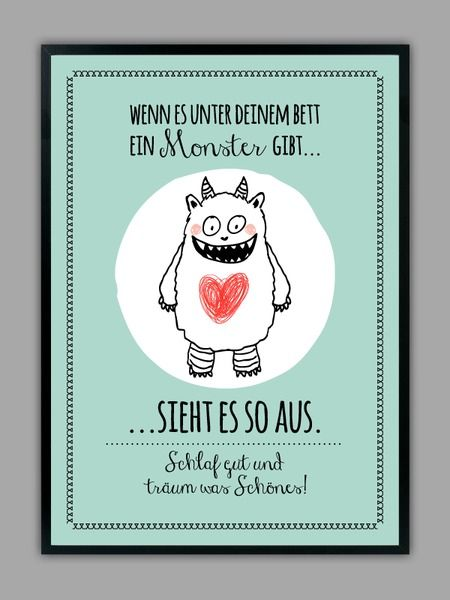 """SCHLAF GUT"" Kunstdruck mit Monster, mint // artprint, monster by Smart-Art…"