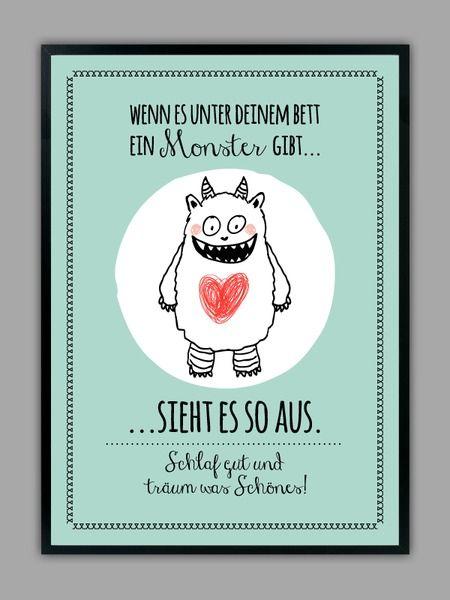 """""""SCHLAF GUT"""" Kunstdruck mit Monster, mint // artprint, monster by Smart-Art Kunstdrucke via DaWanda.com"""