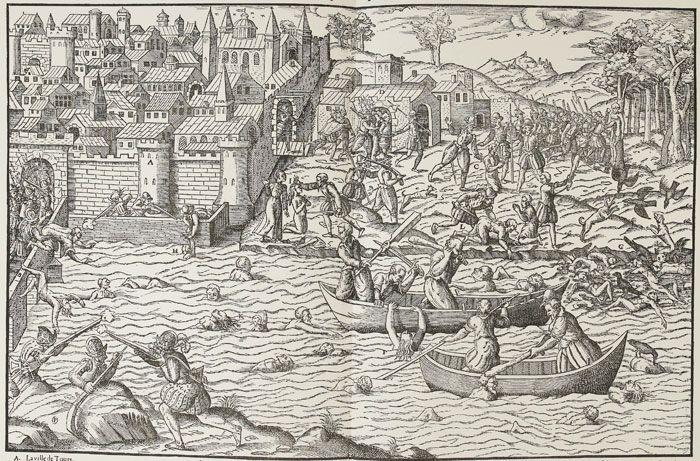 Le Massacre de Tours, juillet 1562, Tortorel et Perrisin - Dès 1561 des affrontements larvés opposaient au sein de la ville de Tours les tenants des 2 religions. La prise d'Orléans par le Prince de Condé s'accompagne de la conquête de plusieurs villes voisines dont Tours, mais aussi Blois, Loches, Chinon, Amboise, par ses partisans. Les trésors des églises et abbayes, tout particulièrement celui de St-Martin de Tours, sont saisis et pillés, les statues et tombeaux brisés.