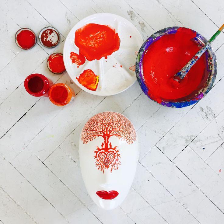 FUSION Collection by More Mannequins / work in progress #FemaleMannequins #mask #illustration #flowerpattern #folk #art