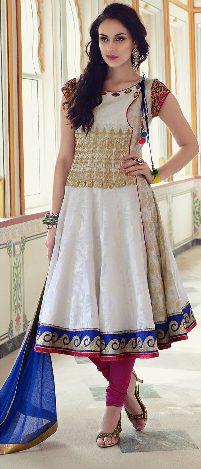 Off #White #Cotton Churidar Kameez @ $164.51