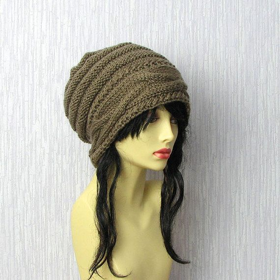 Hand knitted ladies slouchy beanie. Fashion. For by AlbadoFashion