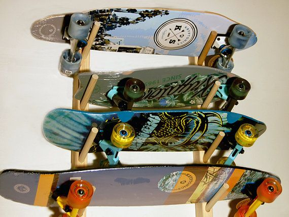 Hey, I found this really awesome Etsy listing at https://www.etsy.com/au/listing/264775622/skateboard-wall-rack-for-4-boards