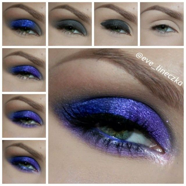 eve_lineczka - purple and blue shadows from technic electric palette, brown shadow from @muacosmetics palette undressed, lila shadow from bc palette 98, as primer gel eyeliner from @maybelinee, lashes from @ardell_lashes Brows: from @anastasiabeverlyhills perfect brow pencil in DARK BROWN, Brow powder duo in DARK BROWN, clear brow gel and concealer 1.5