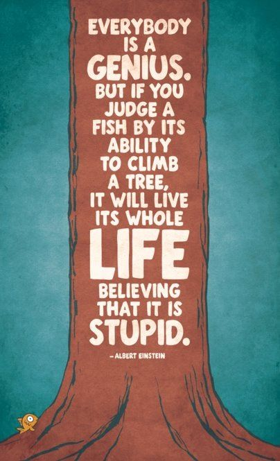 If you judge a fish by its ability to climb a tree, it will live its whole life believing that it i stupid - Albert Einstein
