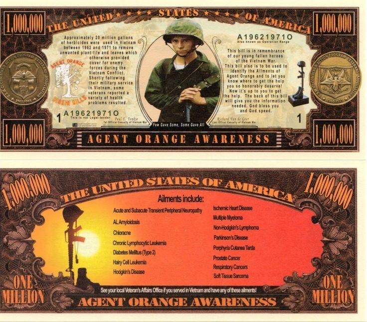 001 Agent Orange Awareness Million Dollar Novelty Money
