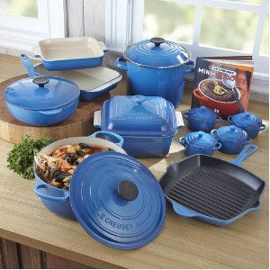 Le Creuset Signature Enameled Cast-Iron 5-Piece Marseille Blue Cookware Set