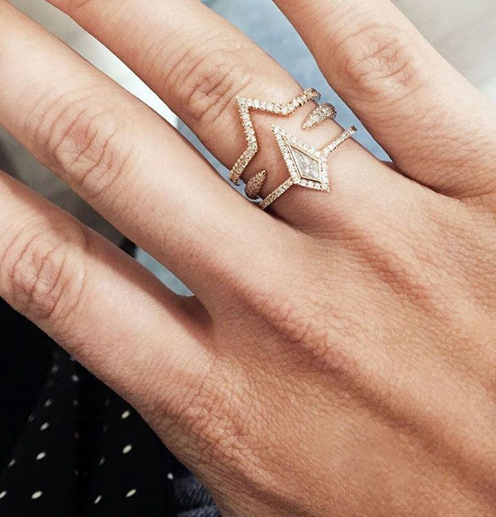 Engagement Rings & Wedding Rings :   Illustration   Description   Eva Fehren's Edgy & Modern Stackable Wedding Rings ~ Combine The Ezzat Ring + The Claw + The Diamond Misfit for this 18k rose gold stack    -Read More –   - #WeddingRings https://adlmag.net/2017/11/04/engagement-rings-s-edgy-modern-stackable-wedding-rings-combine-the-ezzat-r/