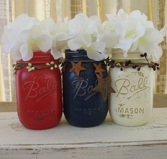 Mason Jars Decorative Mason Jars Red White