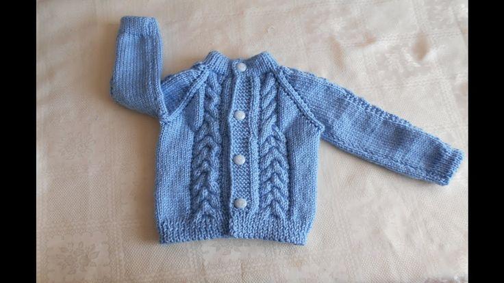 Chambrita en dos agujas / chompa / suéter / saco de 3  a 6 meses paso a ...